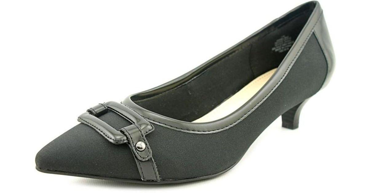 b405aa9033b Lyst - Anne Klein Melanie Women Pointed Toe Canvas Black Heels in Black