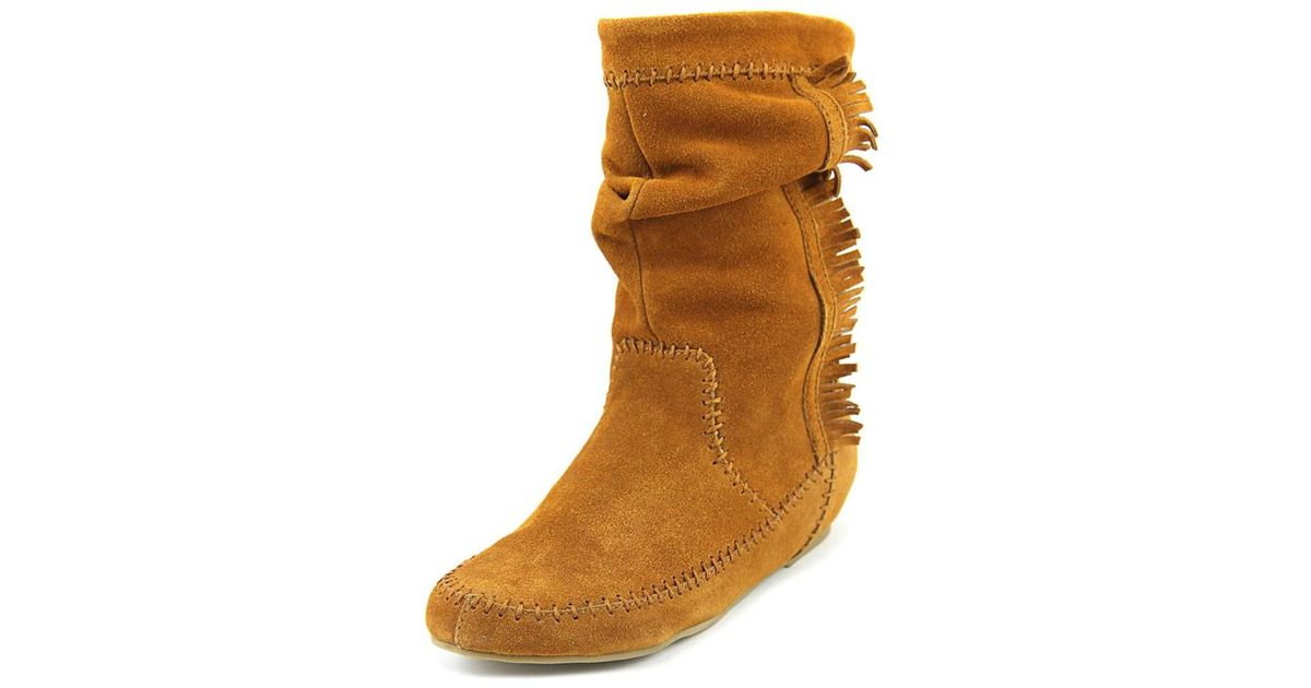 c9d7ba0193b Lyst - Chinese Laundry Frida Round Toe Suede Mid Calf Boot in Brown