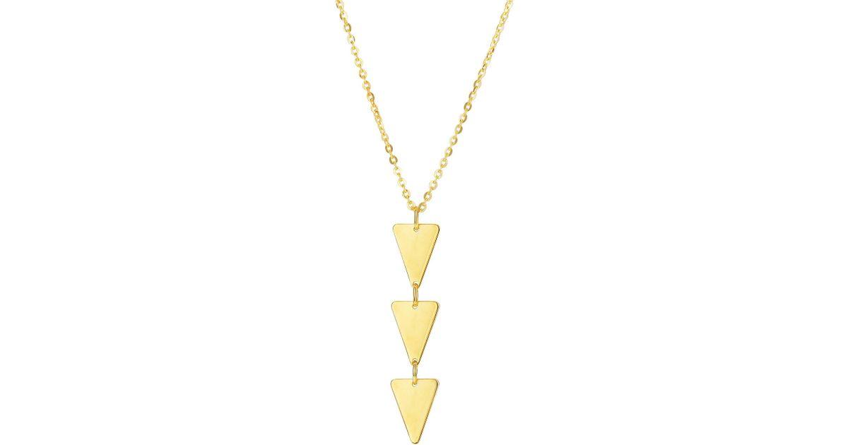 e5ea06d4838ee JewelryAffairs - Metallic 14k Yellow Gold Three Hanging Triangle Pendant  Necklace, 18