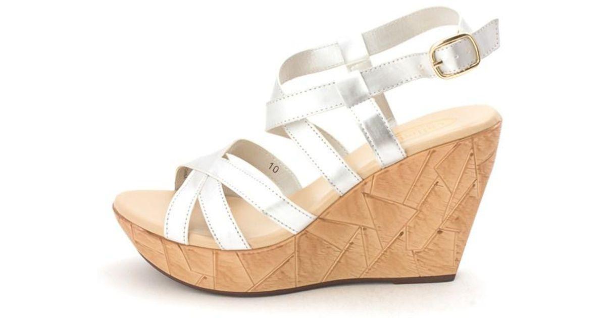 1cae38e4ae80 Lyst - Callisto Womens Ester Open Toe Ankle Strap Wedge Pumps in Metallic