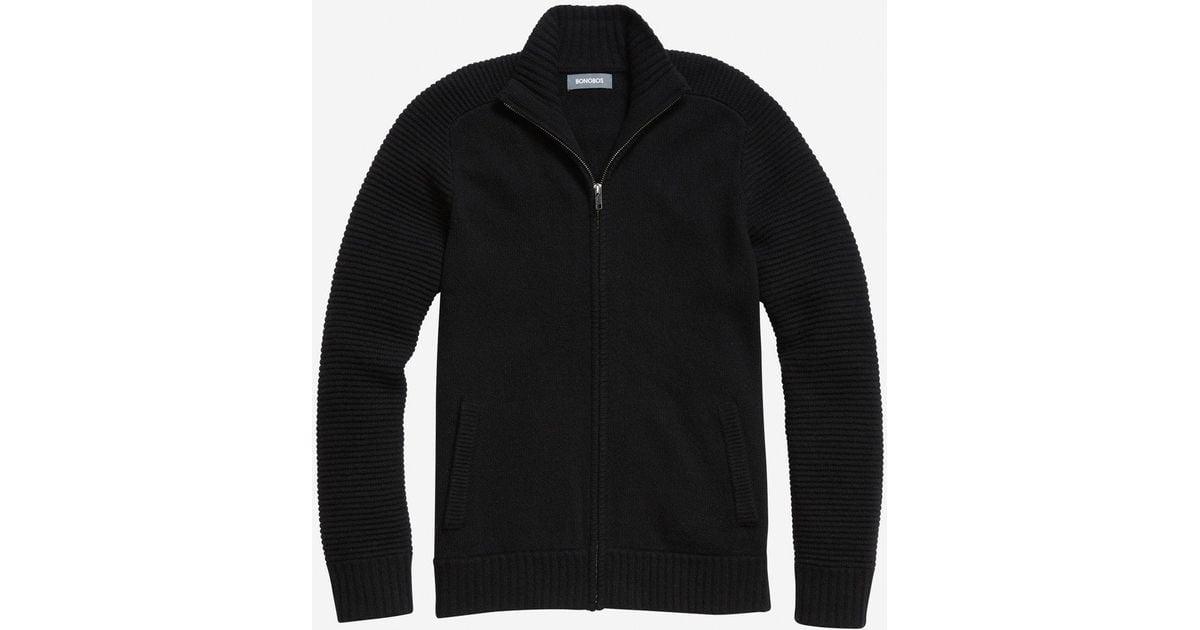 Bonobos Lightweight Wool Full-zip Sweater in Black for Men | Lyst