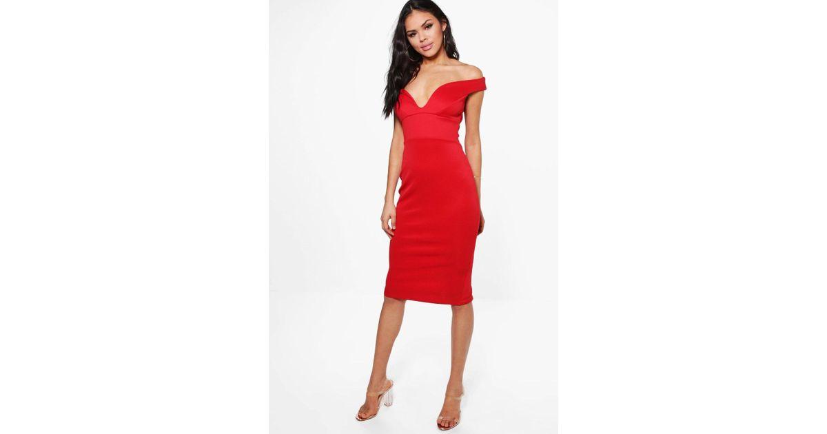 cf38ed820d7a6 Boohoo Skye Sweetheart Off Shoulder Bodycon Dress in Red - Lyst