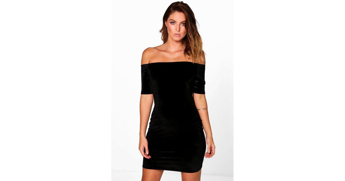 Lyst Boohoo Velvet Off Shoulder Bodycon Dress In Black