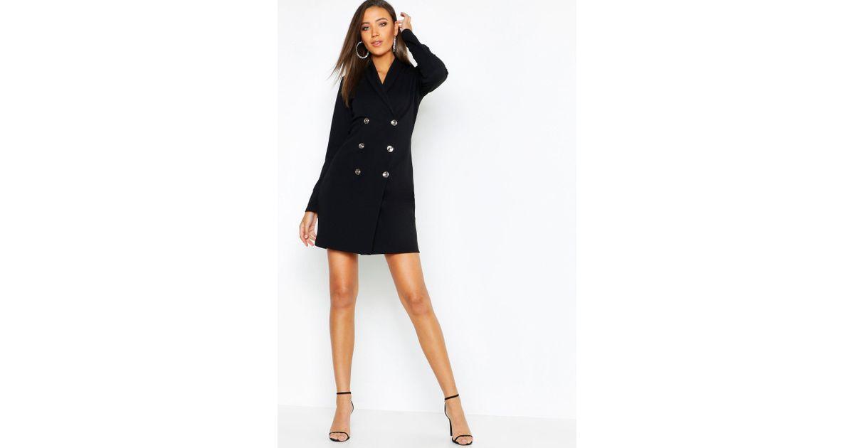 31ae745a7ed2c Boohoo Tall Button Front Blazer Dress in Black - Lyst