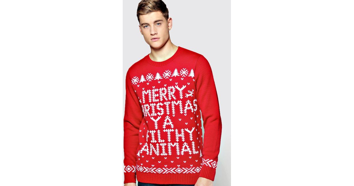Boohoo Merry Christmas Ya Filthy Animal Jumper In Red For Men Lyst