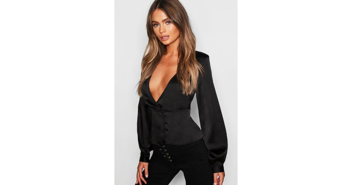 01c2f1971e189 Lyst - Boohoo Satin Peplum Hem Wrap Blouse in Black