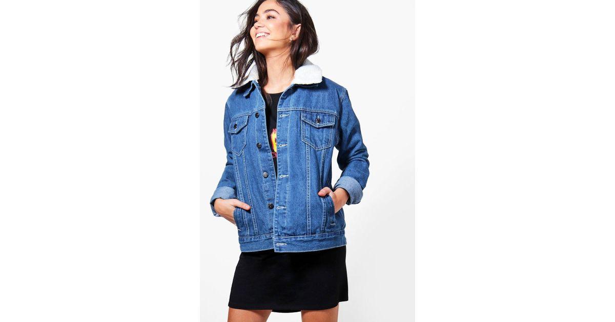 3f9f1036720 Boohoo Borg Lined Oversize Denim Jacket in Blue - Lyst