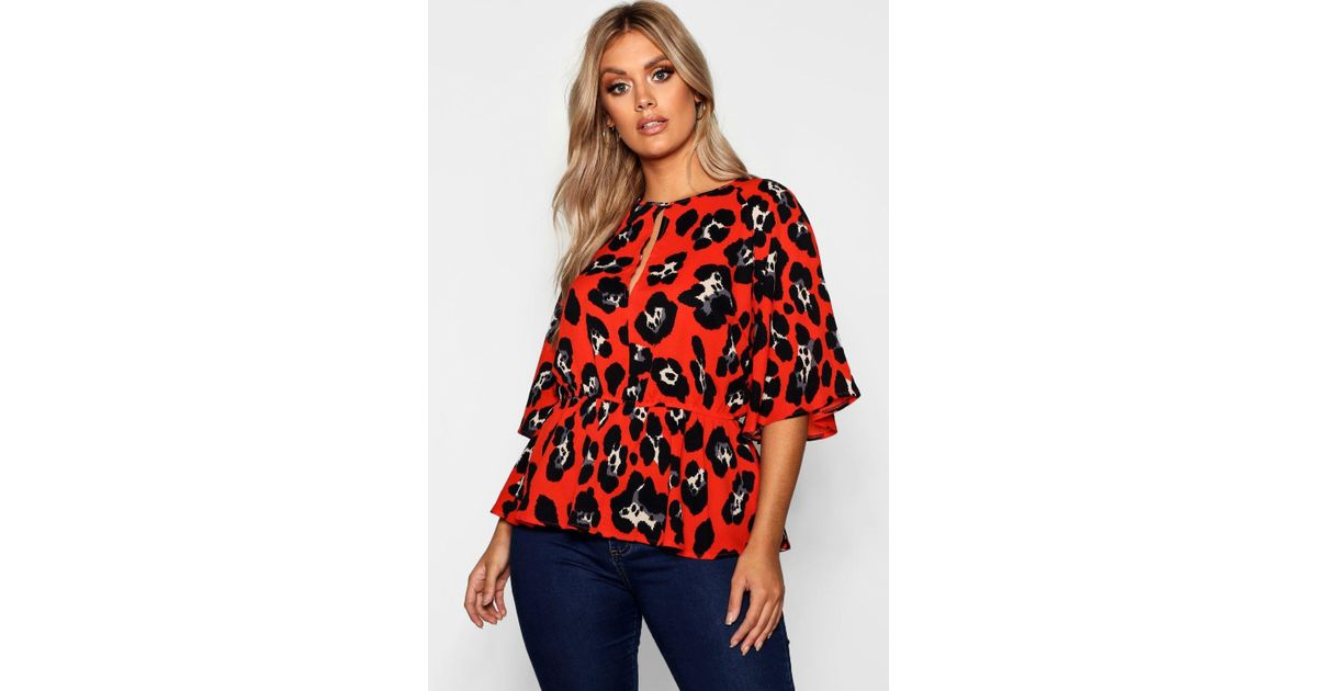 d8dab8742003f2 Lyst - Boohoo Plus Bright Animal Angel Sleeve Blouse in Red
