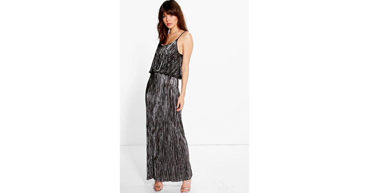 d0ca14b0c6 Boohoo Tahnee Metallic Pleated Maxi Dress in Pink - Lyst