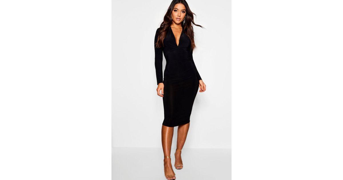 Boohoo Slinky Plunge Neck Long Sleeve Midi Dress in Black - Lyst 5293e5335