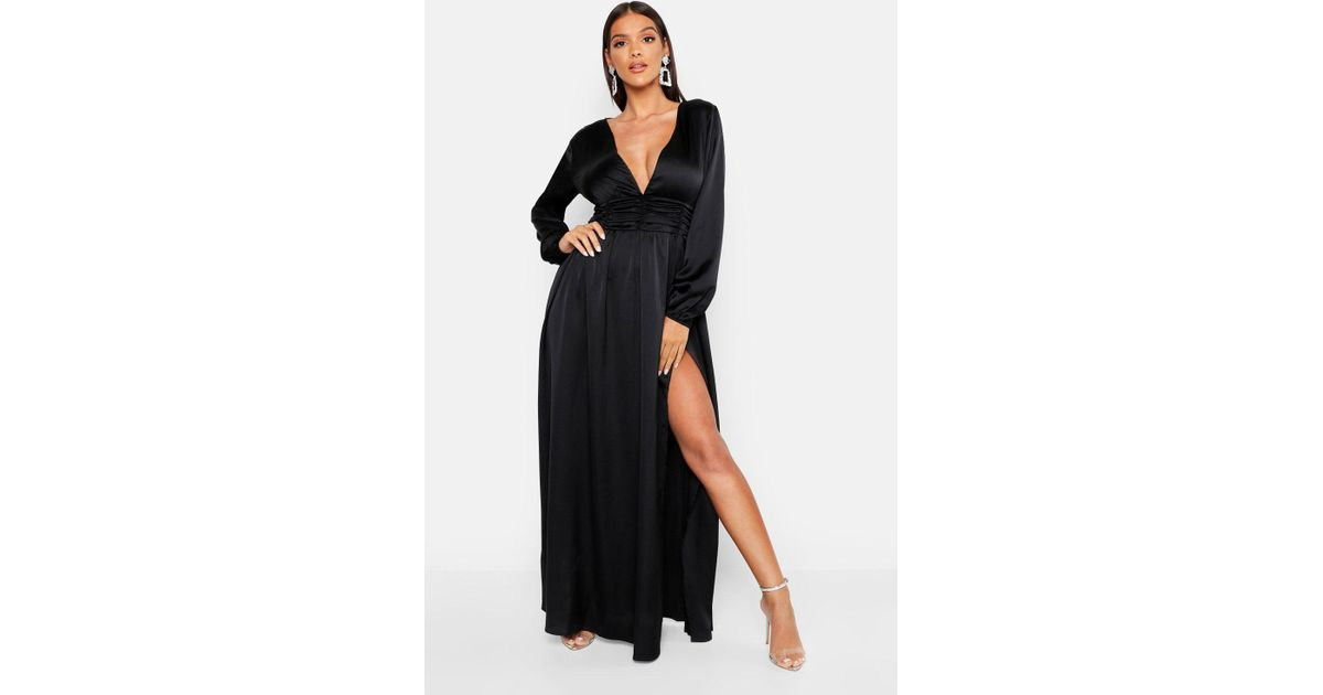 2c5dec2cff3e9 Boohoo Satin Long Sleeve Split Detail Maxi Dress in Black - Lyst