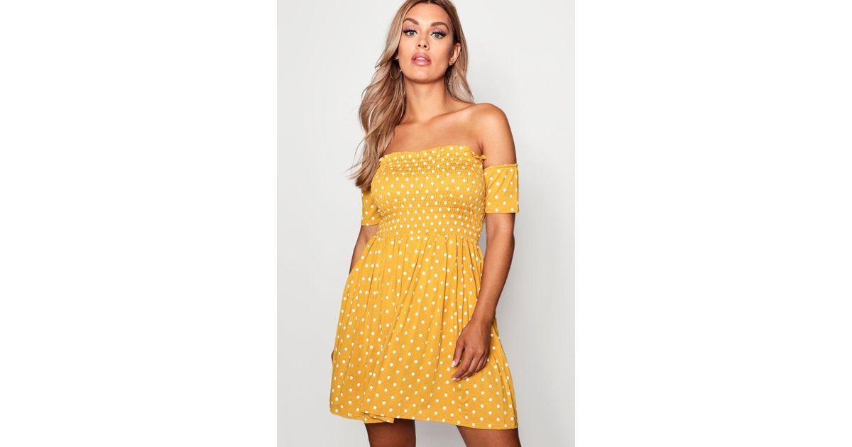 64e270acb8 Boohoo Plus Sheered Tie Spot Mini Dress in Yellow - Lyst