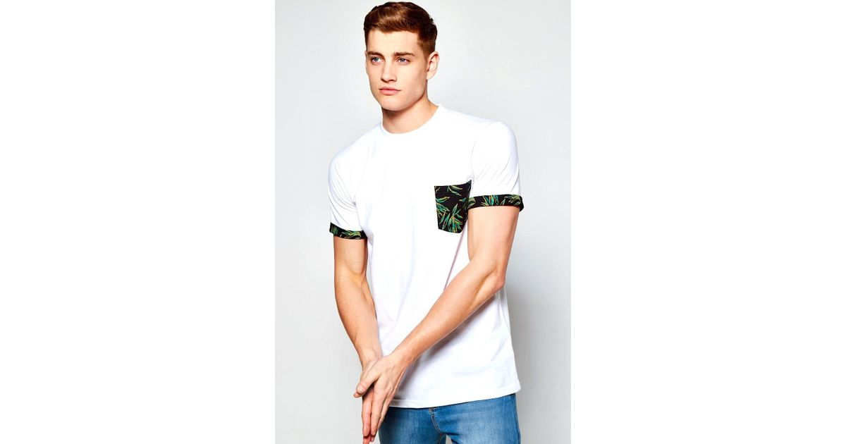 b0c47a6f616 Lyst - Boohoo Pocket T Shirt With Leaf Print in White for Men