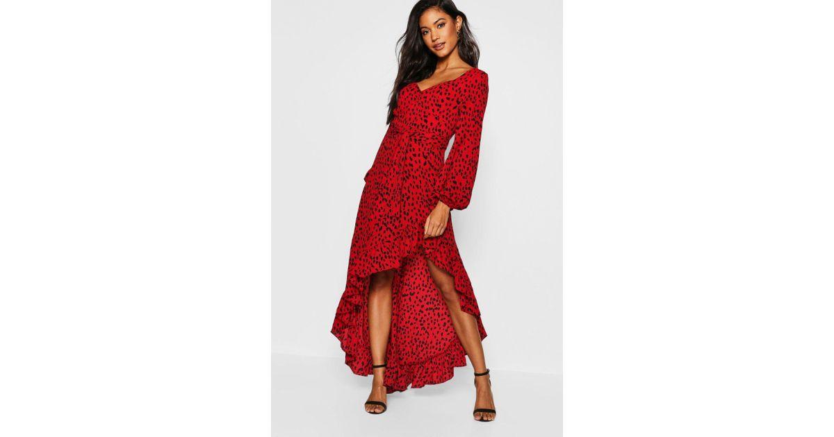 3823b1c1bf9b Boohoo Sweetheart Cheetah Print Dipped Hem Maxi Dress in Red - Lyst