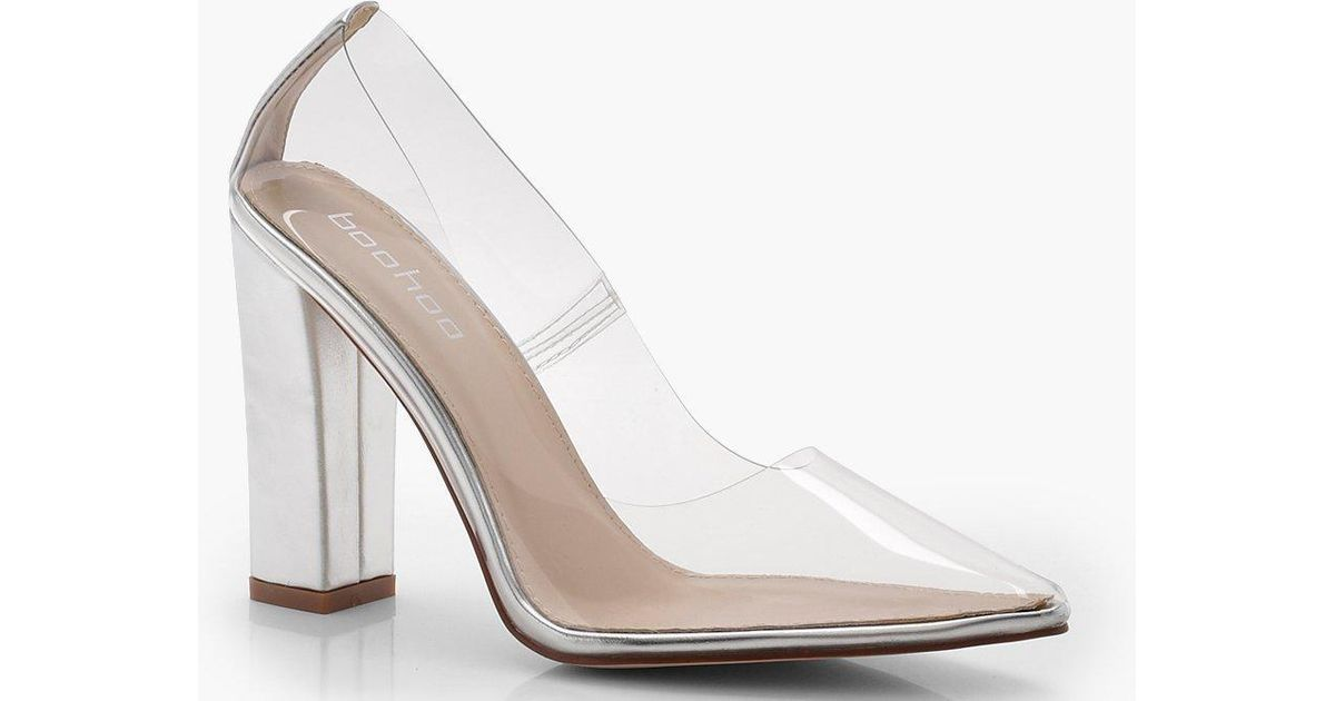 ad9f9a7a451 Lyst - Boohoo Clear Block Heel Court Shoes