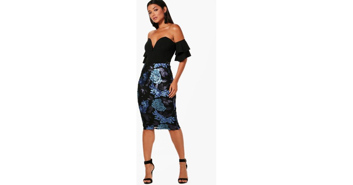 8ec36fdc594 Lyst - Boohoo Sequin Floral Midi Skirt in Blue