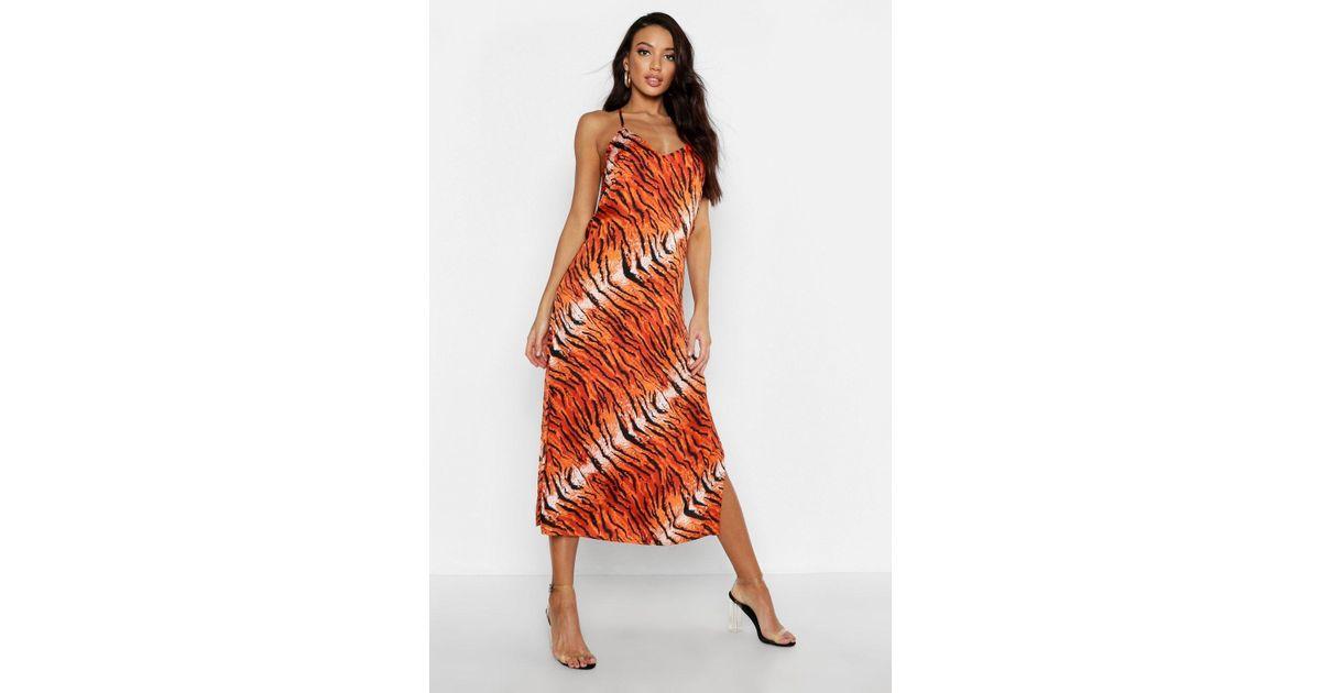 5dfe699b05da6 Boohoo Tiger Print Cowl Back Slip Dress in Orange - Lyst