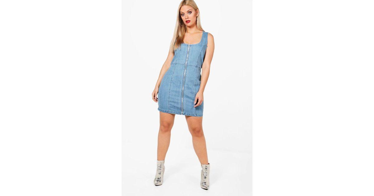 980357dc00 Lyst - Boohoo Plus Georgie Zip Front Denim Bodycon Dress in Blue