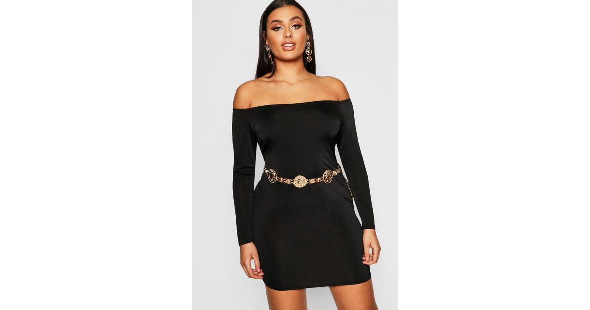 dd69fa91b450 Boohoo Plus Bardot Disco Slinky Bodycon Dress in Black - Lyst