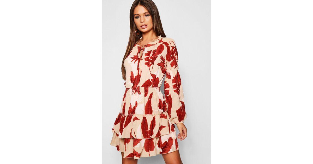 9172175e3a0 Boohoo - Shirred Waist Floral Ruffle Hem Skater Dress - Lyst