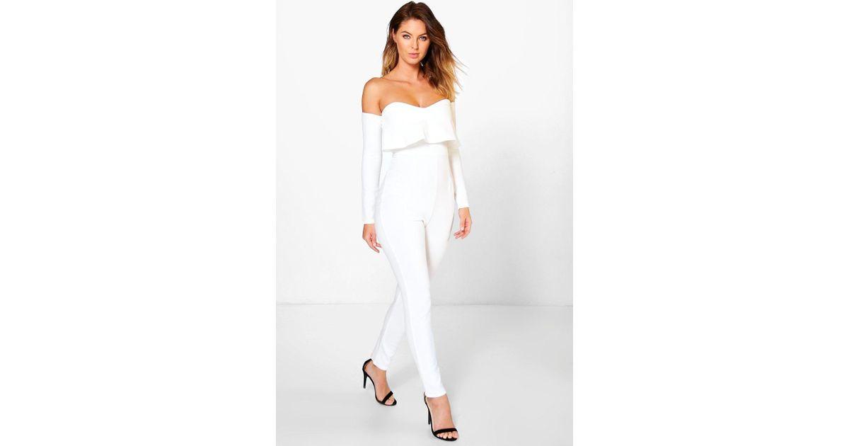 f8fa616ed08 Boohoo Bardot Long Sleeve Skinny Leg Jumpsuit in White - Lyst