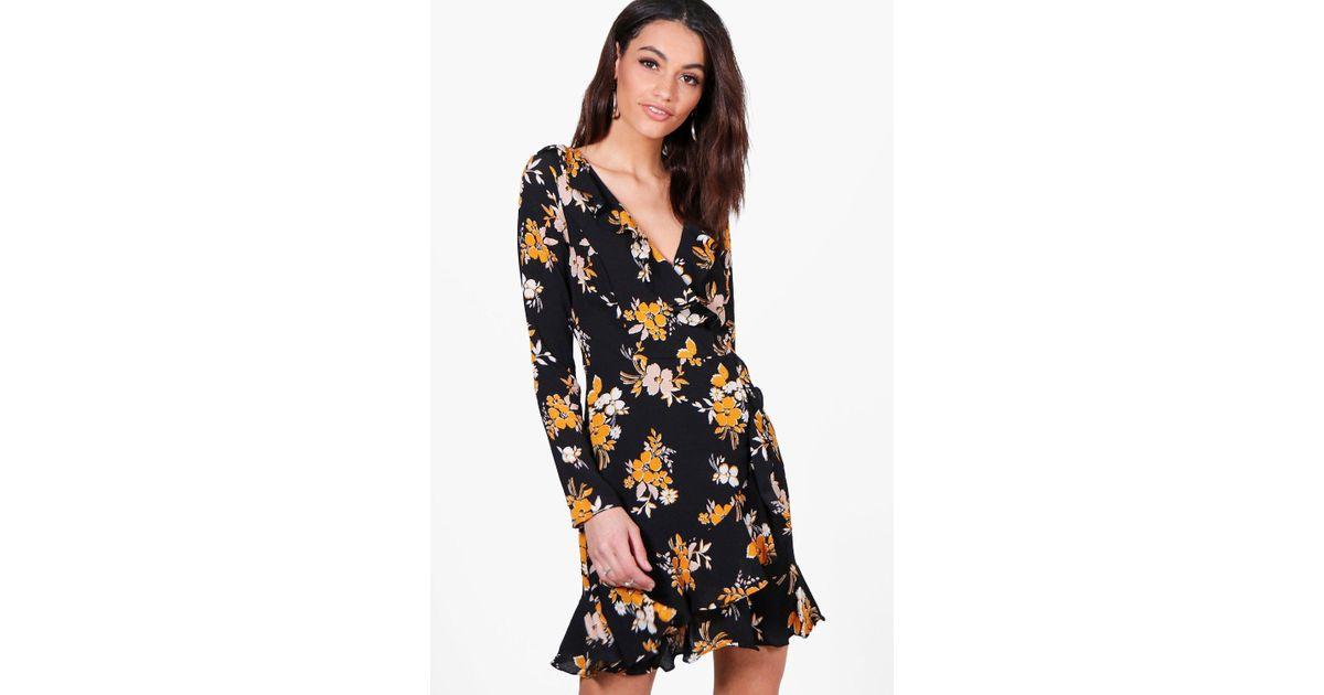 565b0ccb304b Boohoo Jade Floral Ruffle Wrap Tea Dress in Black - Lyst