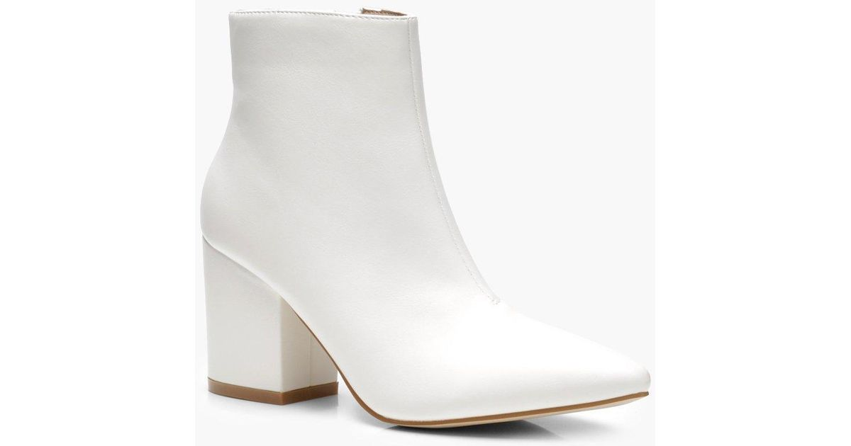 ddfd2fed2f51 Lyst - Boohoo Block Heel Shoe Boots in White - Save 50%