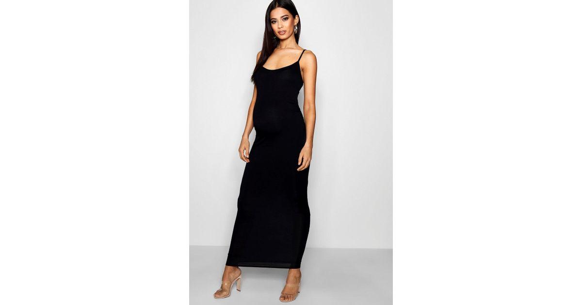 a784f1189e98b9 Lyst - Boohoo Maternity Strappy Bodycon Maxi Dress in Black