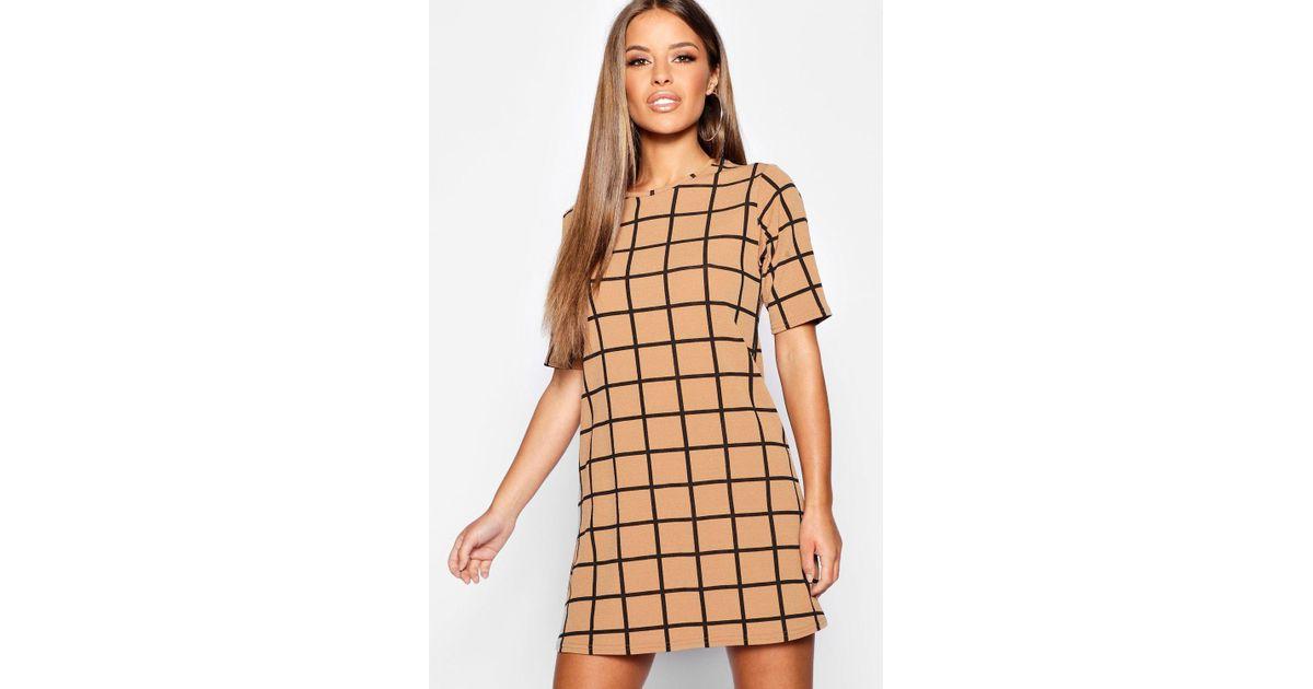 3b79e598c9 Boohoo Petite Grid Check Shift Dress in Natural - Lyst
