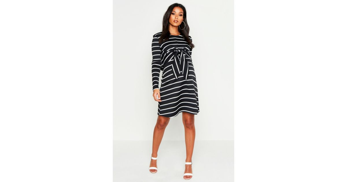3129f0e722046 Boohoo Maternity Nursing Knot Front Stripe Dress - Lyst