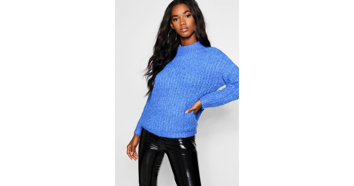 0ff3f040b Boohoo Boucle Feather Knit Chenille Jumper in Blue - Lyst
