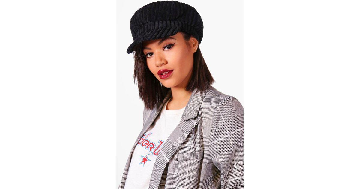 38fa0e78568 Boohoo Erin Cord Baker Boy Hat in Black - Lyst