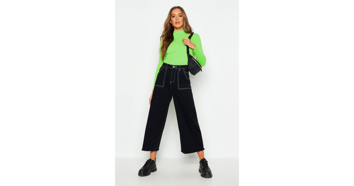 a26f097ce810 Boohoo High Rise Contrast Stitch Wide Leg Jeans in Black - Lyst