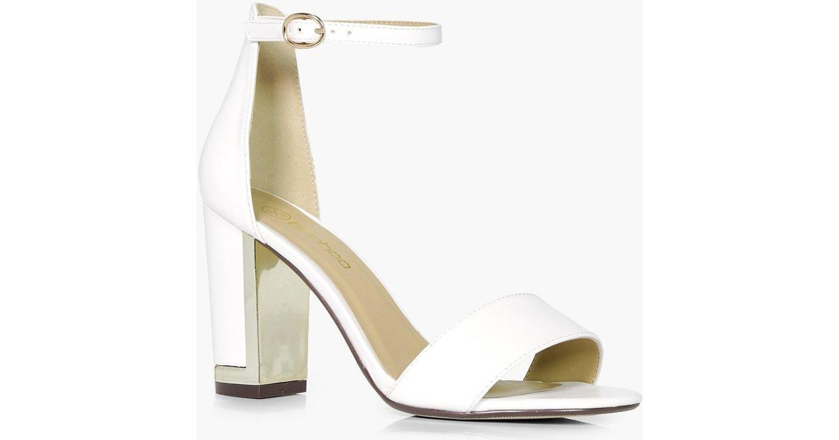 clearance prices enjoy best price online for sale Boohoo White Wide Fit Gold Plated Block Two Part Heels