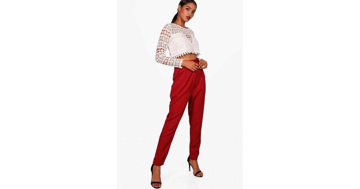Lyst - Boohoo Premium Abi Lace Crop   Trouser Co-ord Set in Red 58819f7e2