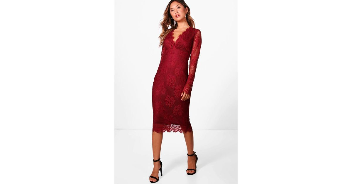 Boohoo Boutique Eyelash Lace Midi Dress in Red - Lyst 266b78d88