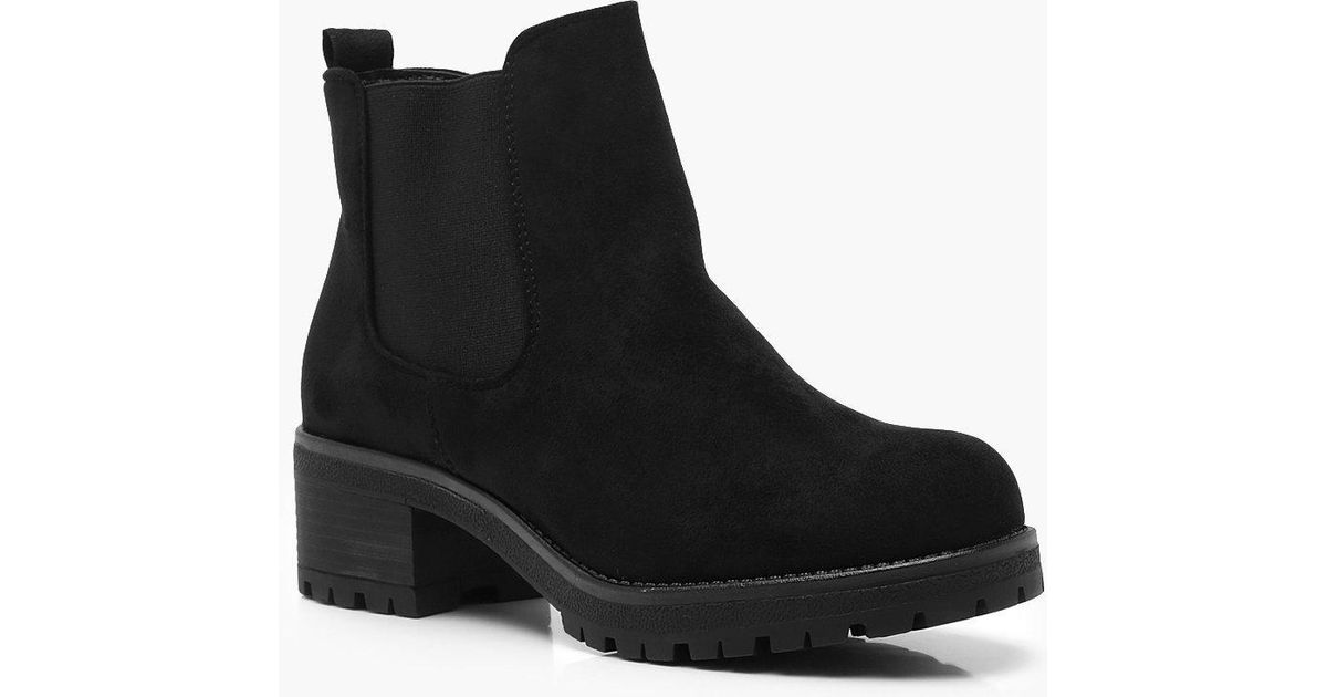 c97f00de1d04 Lyst - Boohoo Loop Back Chunky Chelsea Boots in Black
