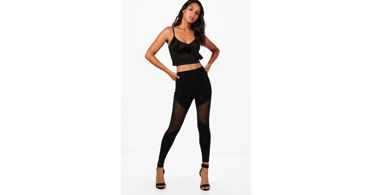 a0efb7866eae Lyst - Boohoo Faye Mesh Insert Thigh Panel Leggings in Black