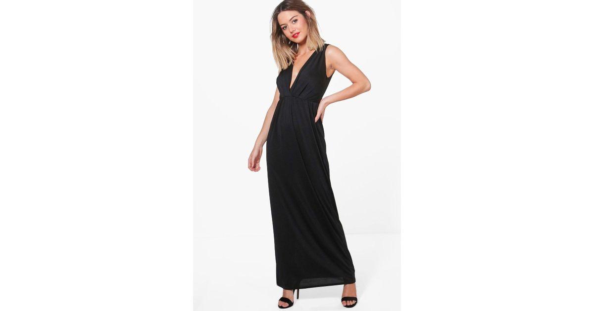 6e0f78c9ff Lyst - Boohoo Petite Sonya Sleeveless Wrap Maxi Dress in Black