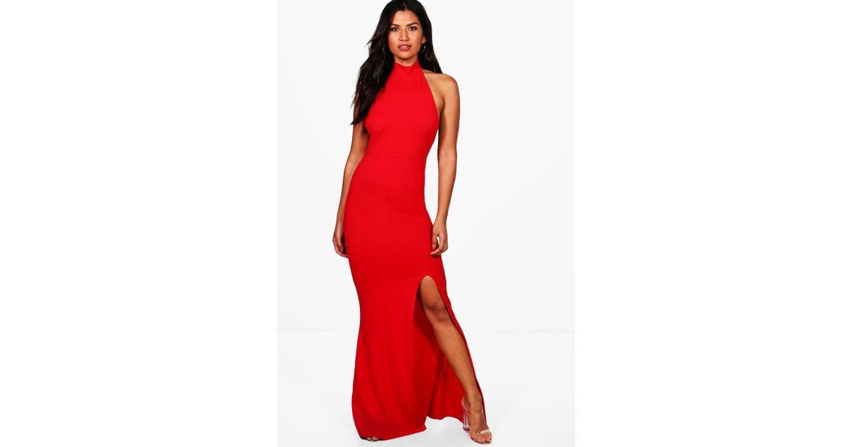 5b31a9ab228c Boohoo High Neck Extreme Split Front Maxi Dress in Red - Lyst
