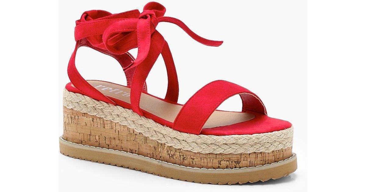 17eb34b91fa Lyst - Boohoo Flatform Espadrille Tie Up Sandals in Red