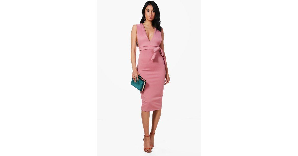 019043dc19fe Lyst - Boohoo Katy Wrap Waist Plunge Scuba Midi Dress in Pink
