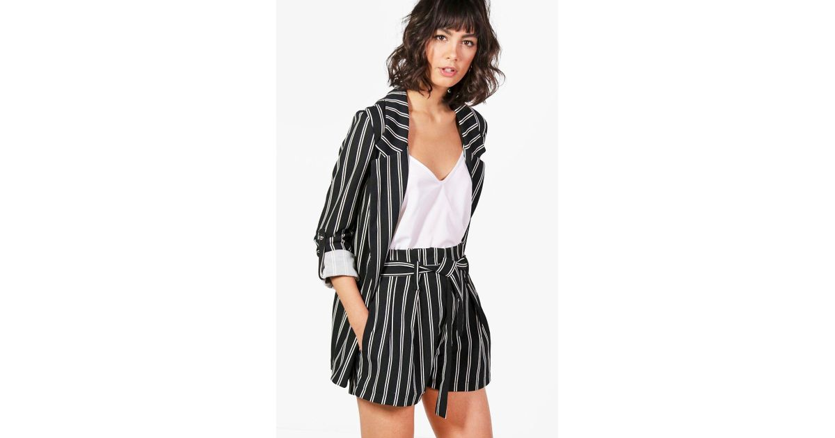 60d8d19674dc Boohoo Paige Paperbag Waist Tailored Stripe Short in Black - Lyst