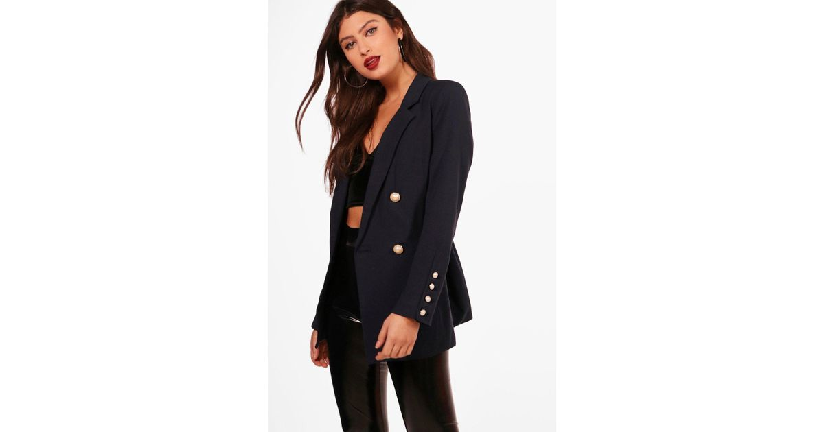 e1deb15c8a8be Lyst - Boohoo Kodie Double Breasted Pearl Button Blazer in Blue