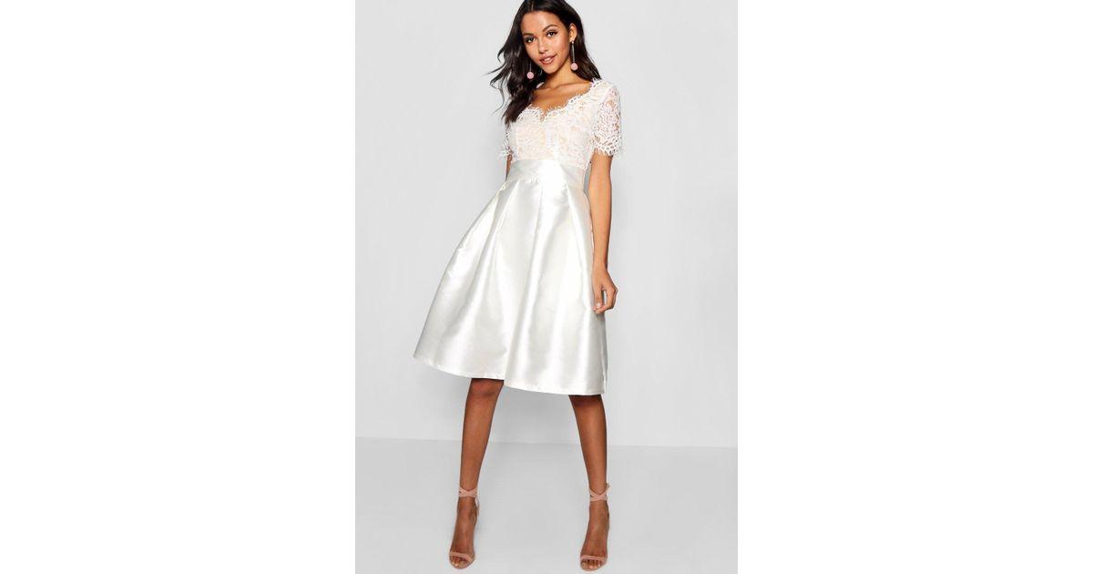 Boohoo Boutique Eyelash Lace Skater Dress in White - Lyst 63c6ab889
