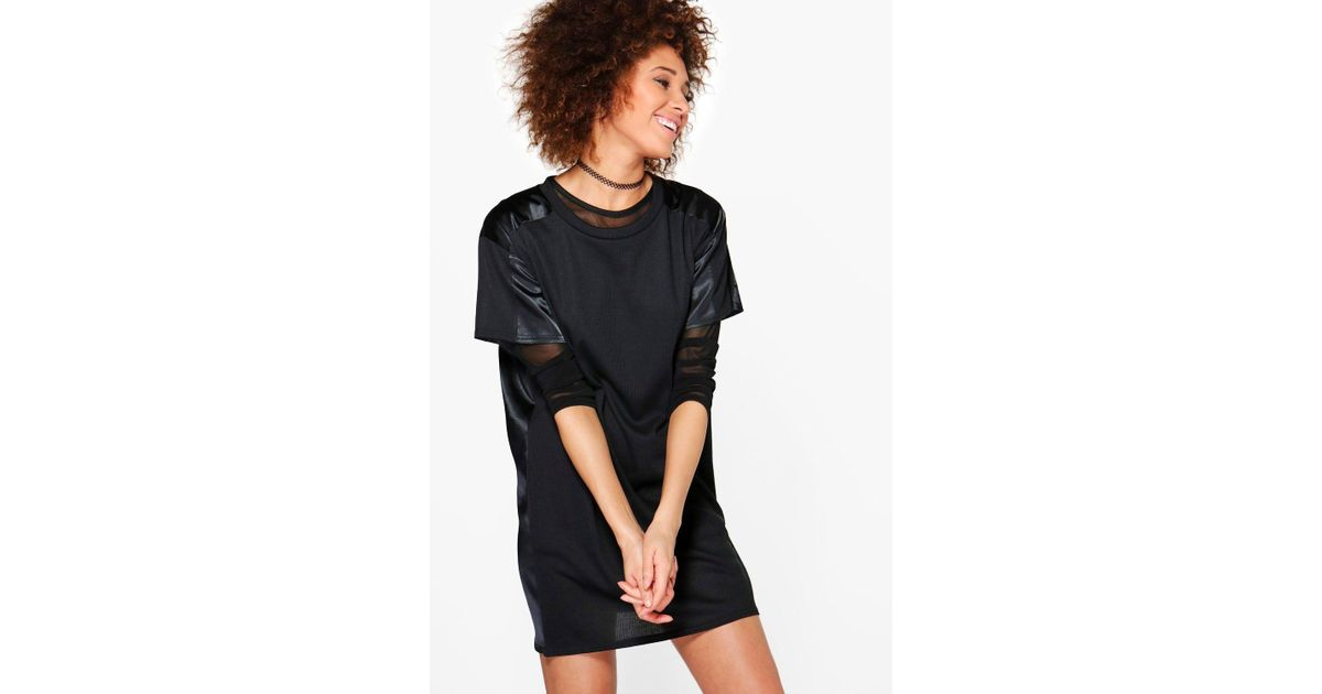 7f64495f8690 Boohoo Aaliyah Rib And Satin Detail Shift Dress in Black - Lyst