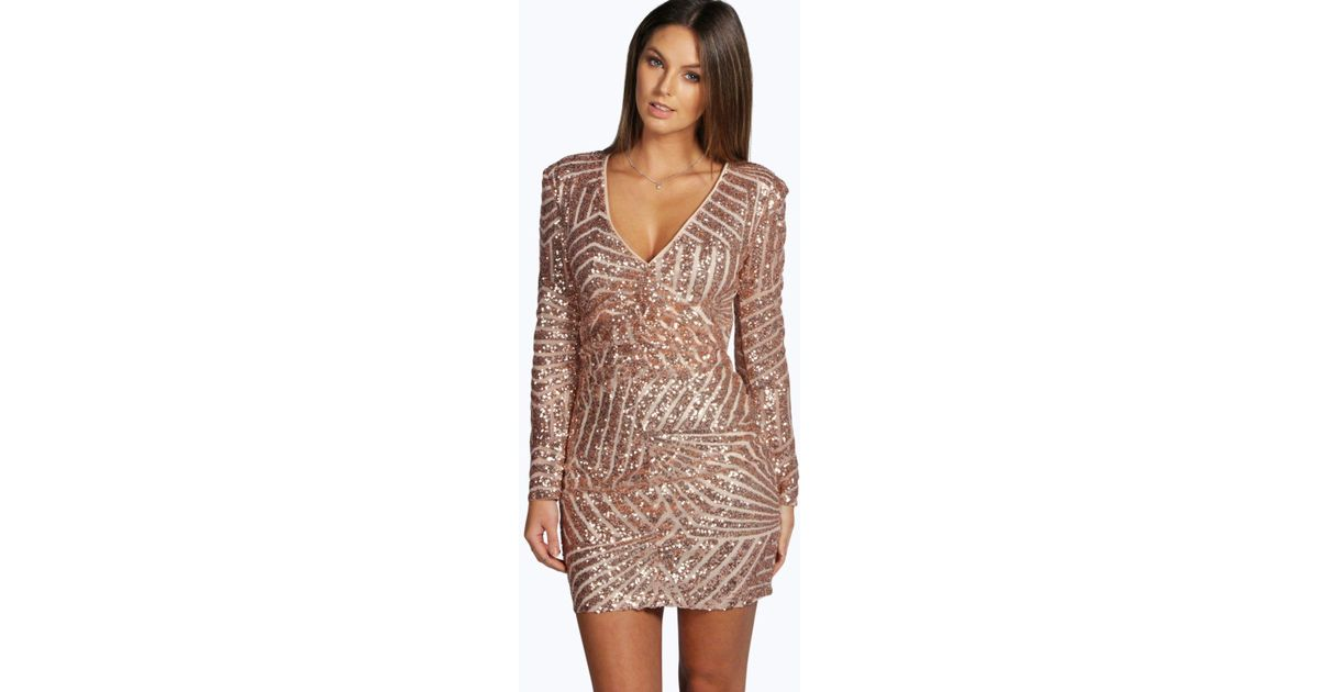 9b0c250e62e4 Boohoo Boutique Sequin Panelled Bodycon Dress in Brown - Lyst
