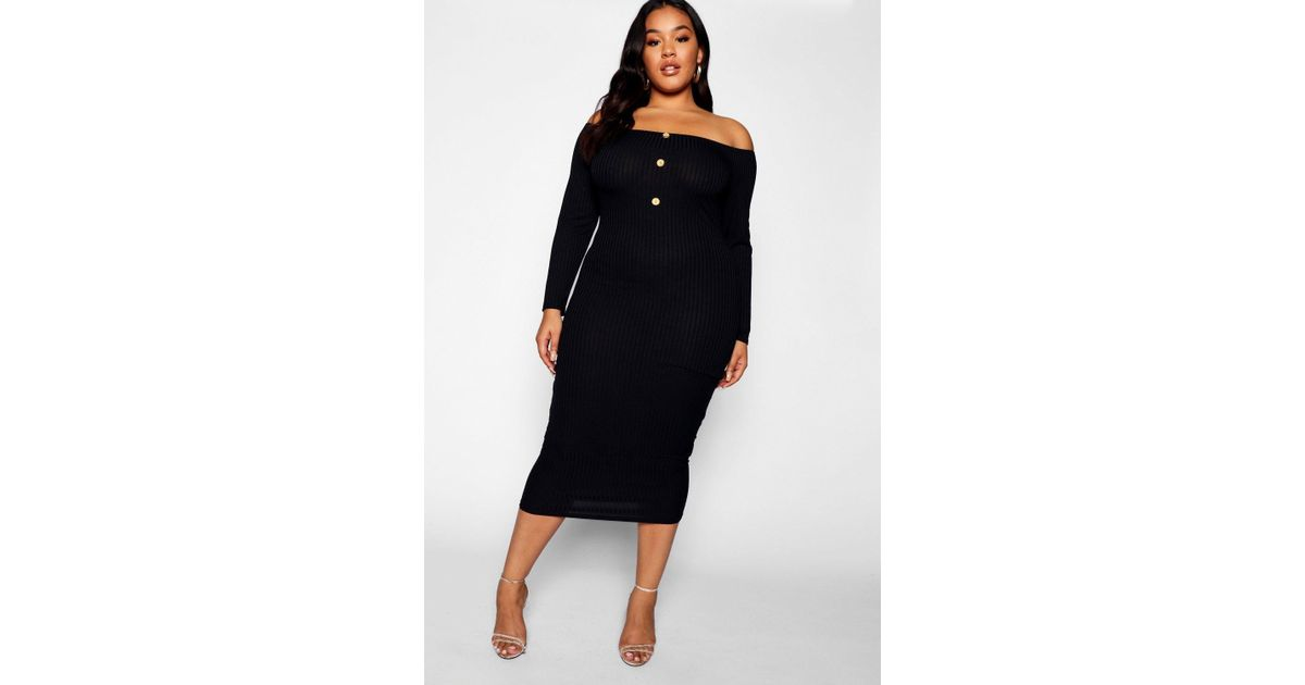 4278b4a7ce Lyst - Boohoo Plus Horn Button Down Ribbed Bardot Midi Dress in Black