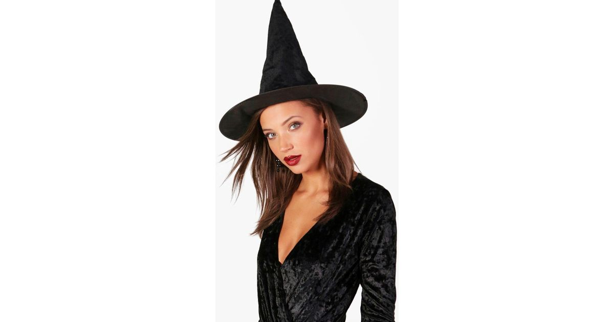 cff44acb02c Lyst - Boohoo Velvet Witch Hat in Black