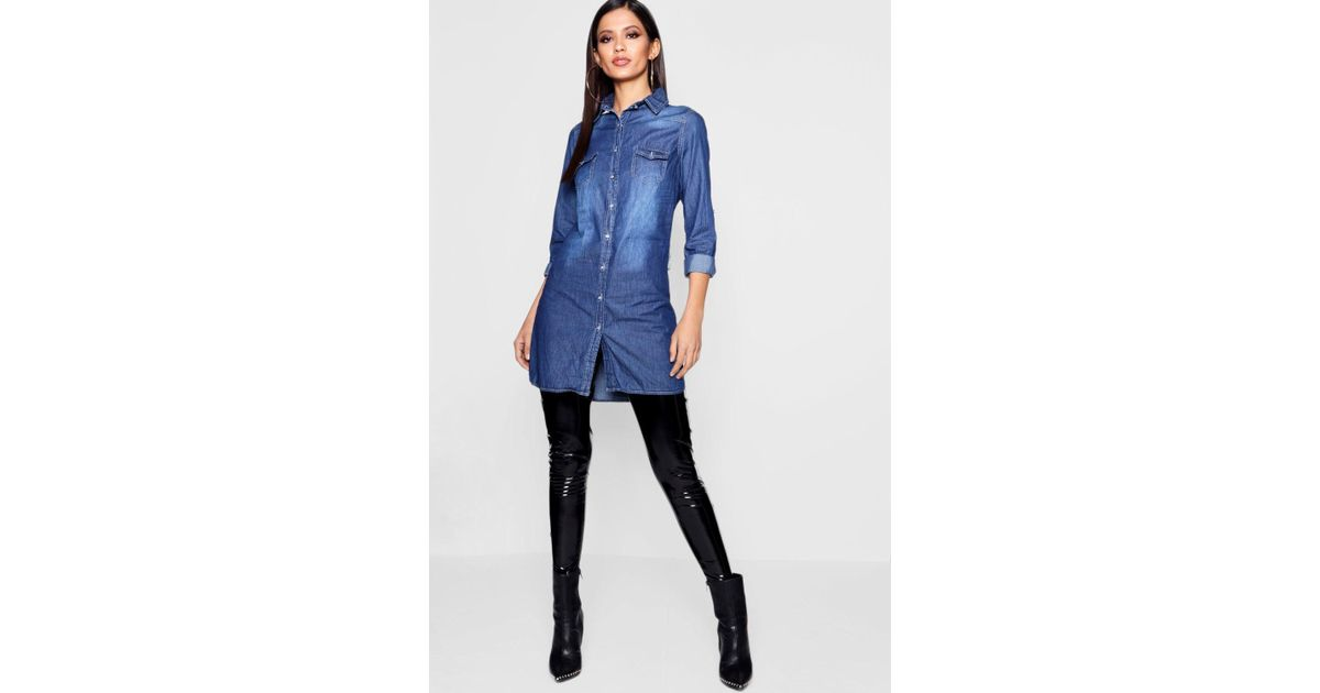 a2d0df61ad1e0 Lyst - Boohoo Slim Fit Long Sleeve Denim Shirt Dress in Blue